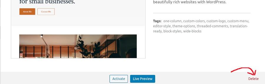 wordpress-theme-delete-options