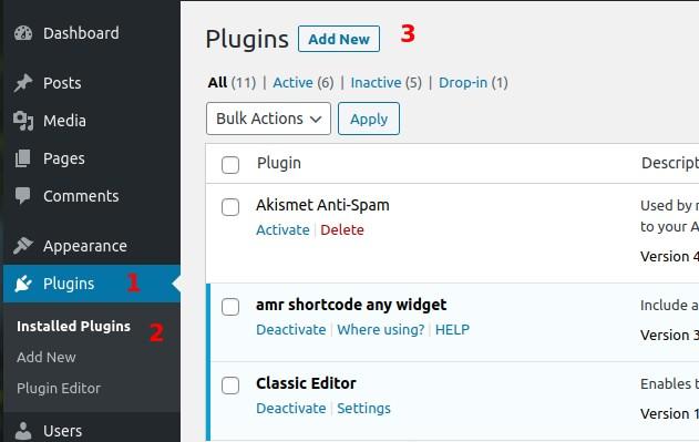 How to install WordPress from WordPress dashboard search box