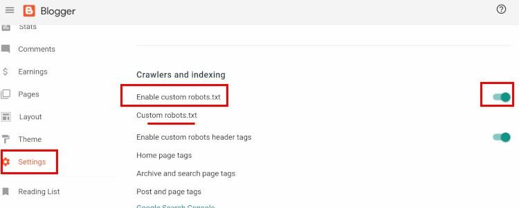 blogger-site-map-settings