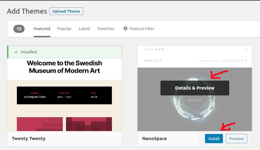 wordpress-theme-install-options
